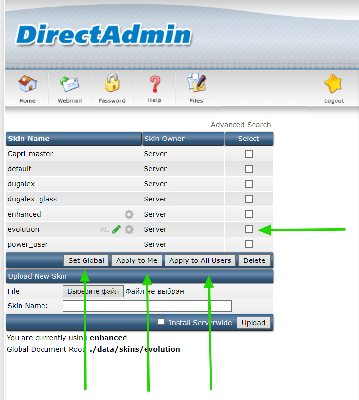 How to enable Evolution skin for all users in DirectAdmin